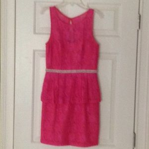 Minuet Hot Pink Lace Pearls Cocktail Dress